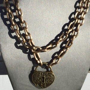 Heart Lock Steampunk Brass Chain Necklace Pendant